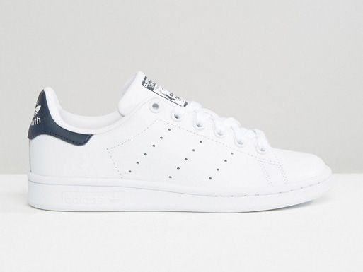 adidas Originals Unisex White And Navy Stan Smith Sneakers