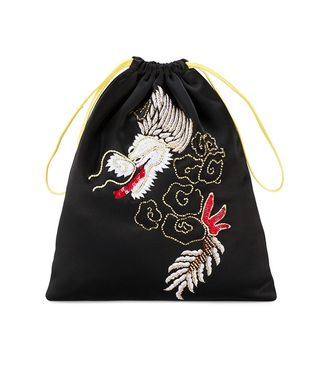 Attico Satin Dragon Embroidered Pouch