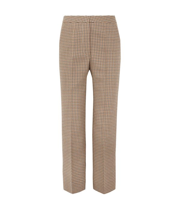Cropped Checked Wool Flared Pants