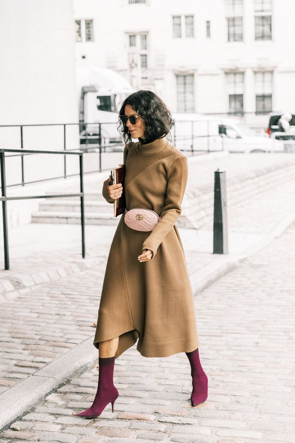 Turtleneck Dress + Sock Boots