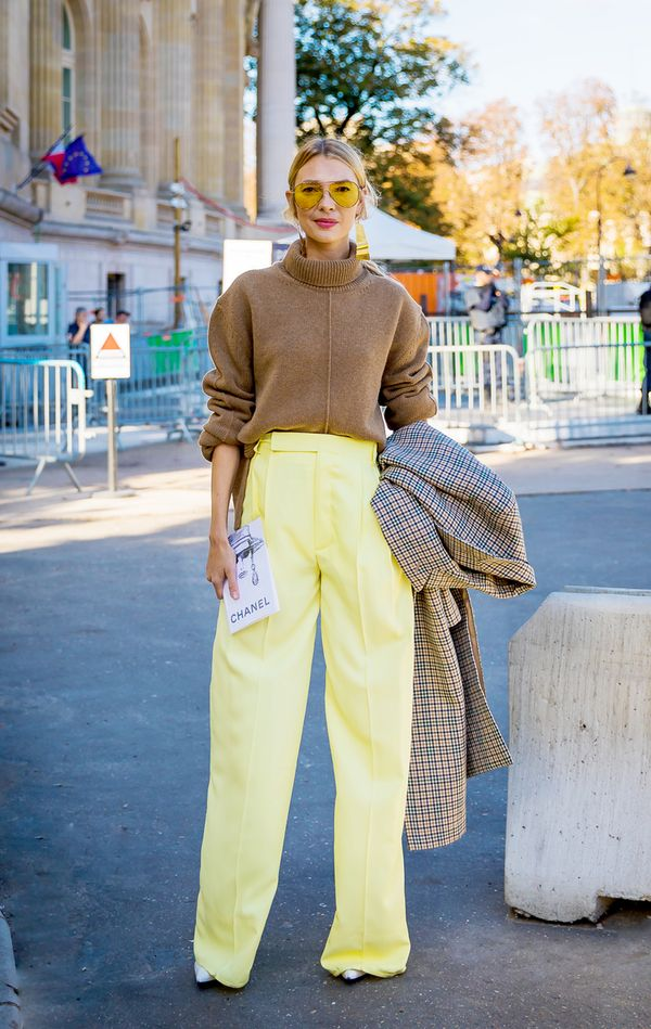 Turtleneck + High-Waisted Pants