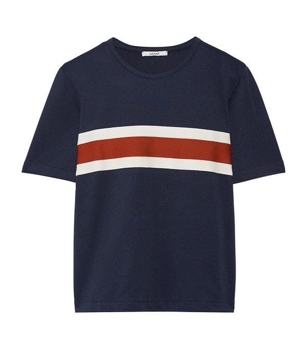 Dubois Striped Stretch-piqué Top
