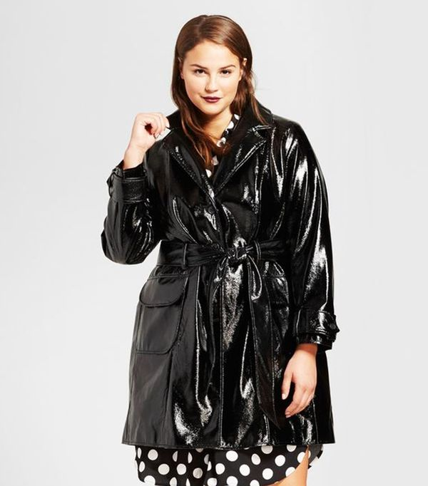 Plus Size Patent Trench Coat