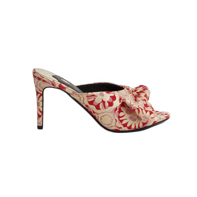 River Island Red Floral Jacquard Bow Front Heeled Mules