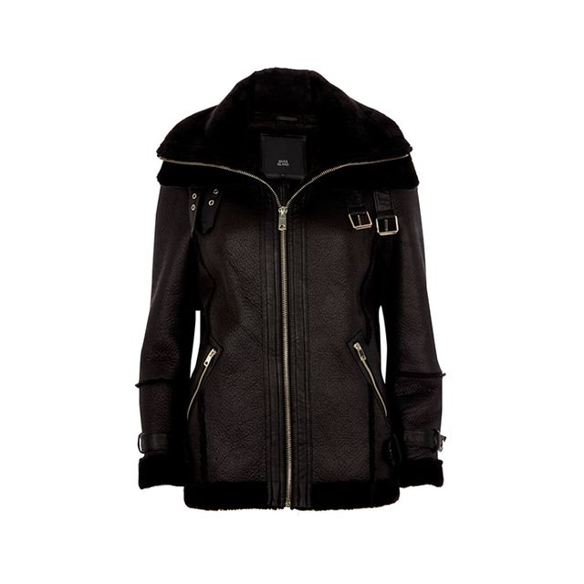 River Island Petite Black Faux Leather Aviator Jacket