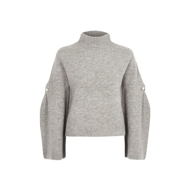 River Island Grey High Neck Wide Sleeve Knit Sweater