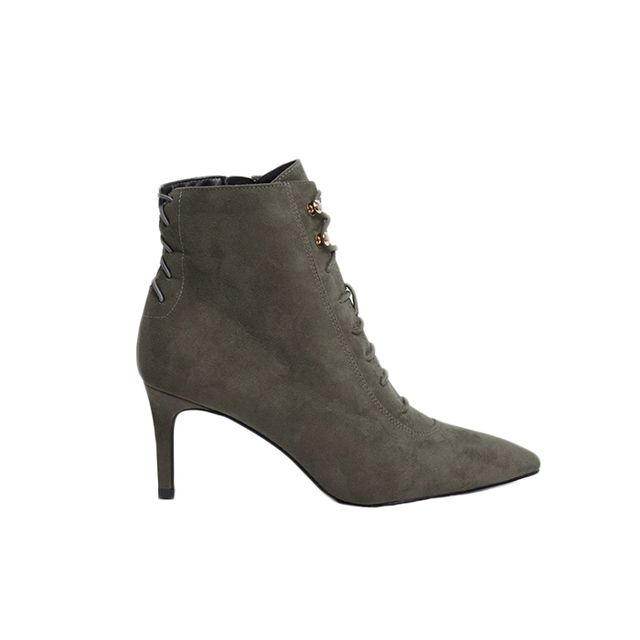 River Island Grey Pointed Lace-Up Kitten Heel Ankle Boots