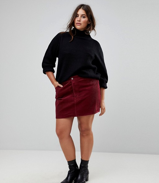 ASOS CURVE Cord Pelmet Skirt in Berry