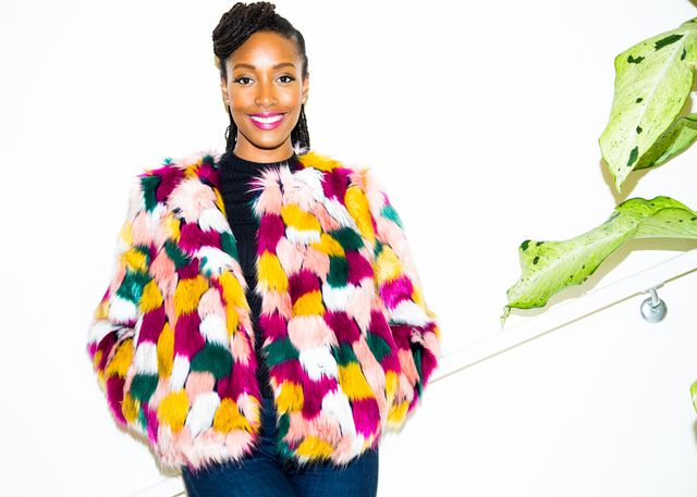 Franchesca Ramsey milly faux fur jacket