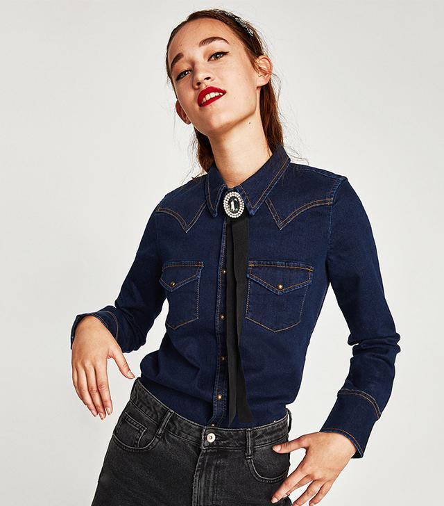 Zara Slim Fit Western Denim Shirt