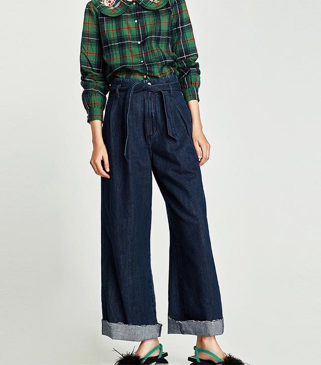 Zara High Waist Paperbag Trousers