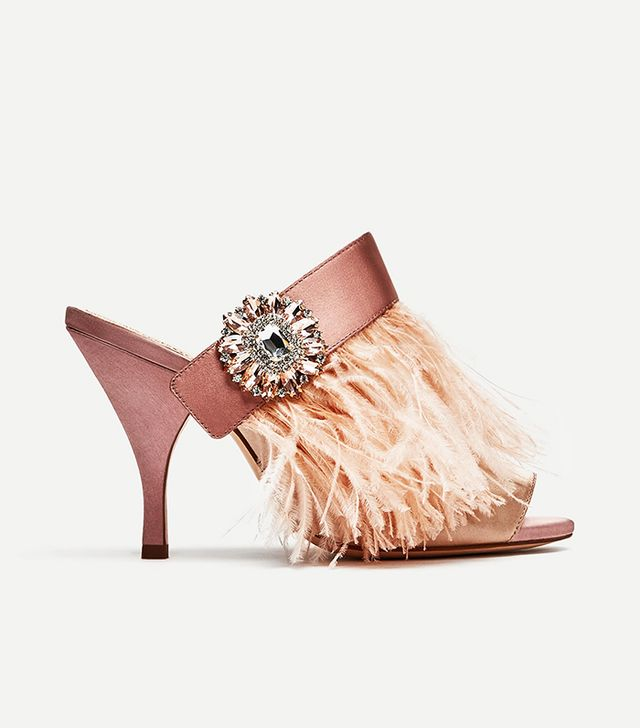Zara High Heel Mules With Feather and Brooch Detail