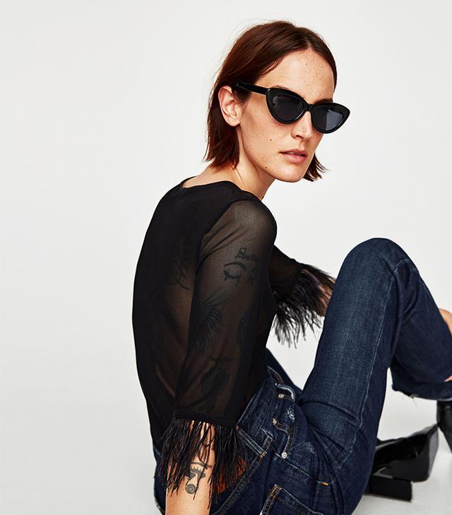 Zara Tulle Bodysuit With Feathers