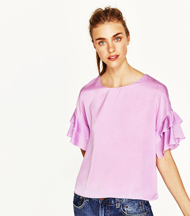 Zara Blouse With Frilled Sleeve