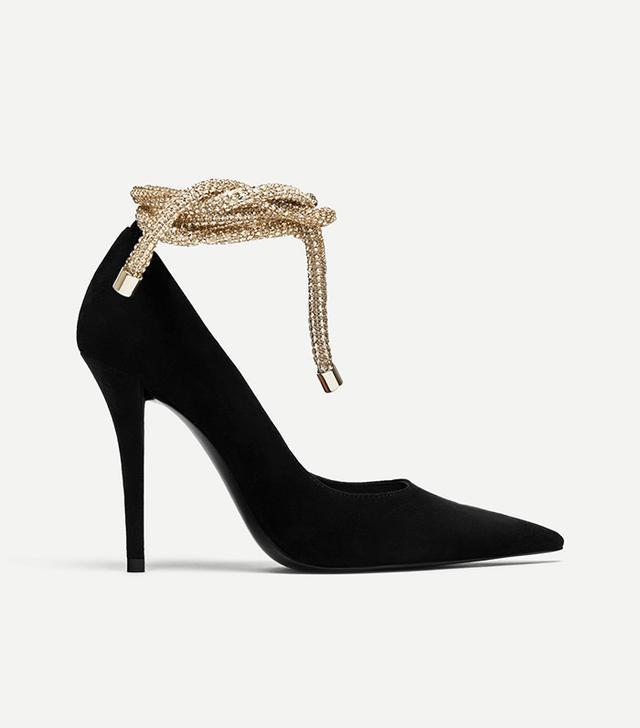 Zara Tied High Heel D'orsay Shoes