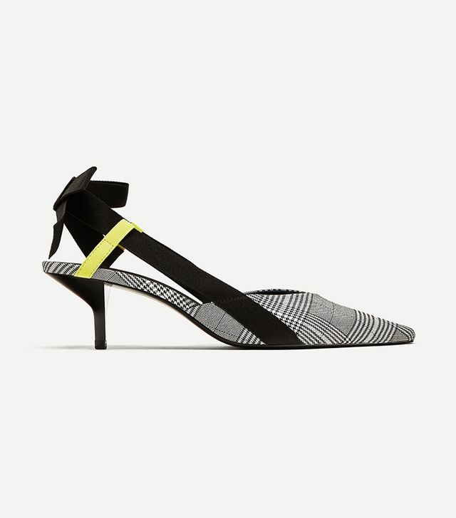 Zara Checked High Heel Slingback Shoes