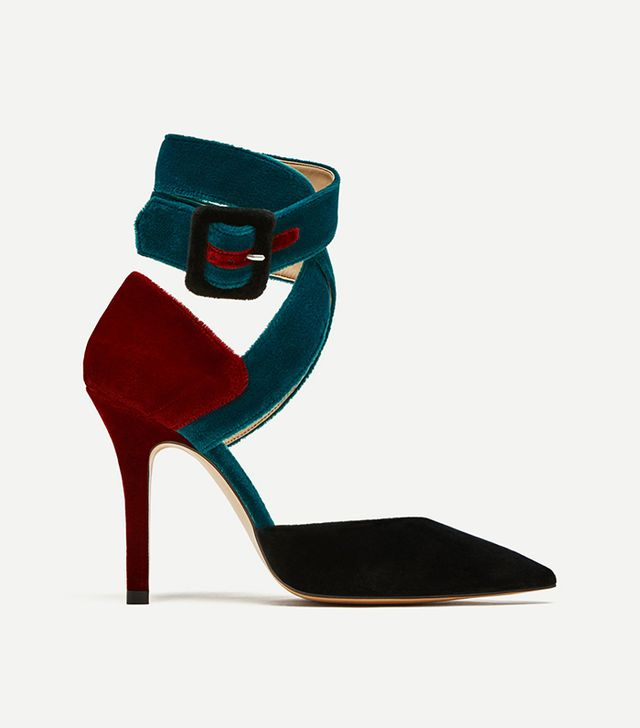 Zara High Heel Court Shoes With Cord Detail