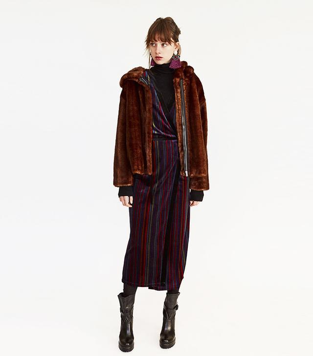 Zara Striped Velvet Dress