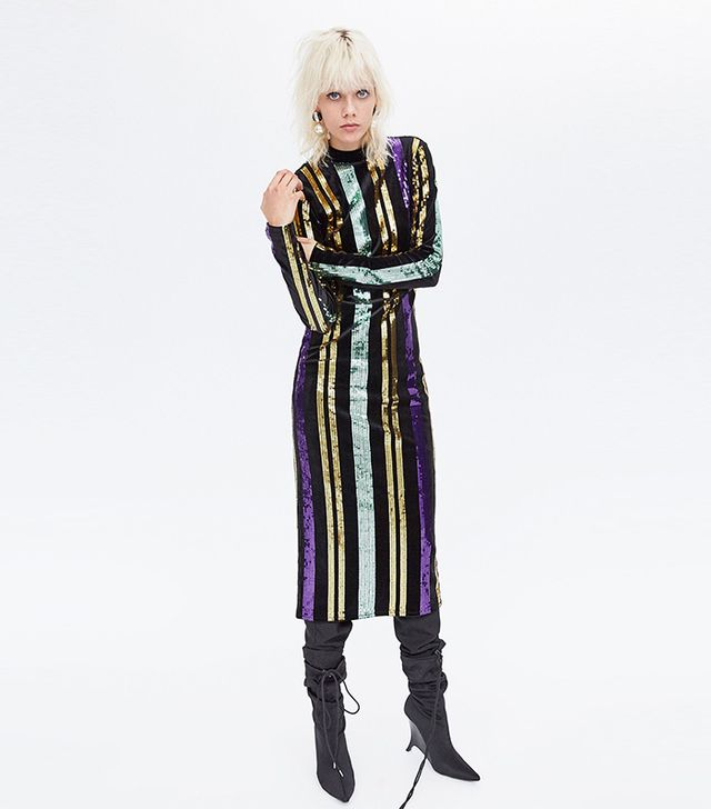 Zara Striped Sequinned Dress