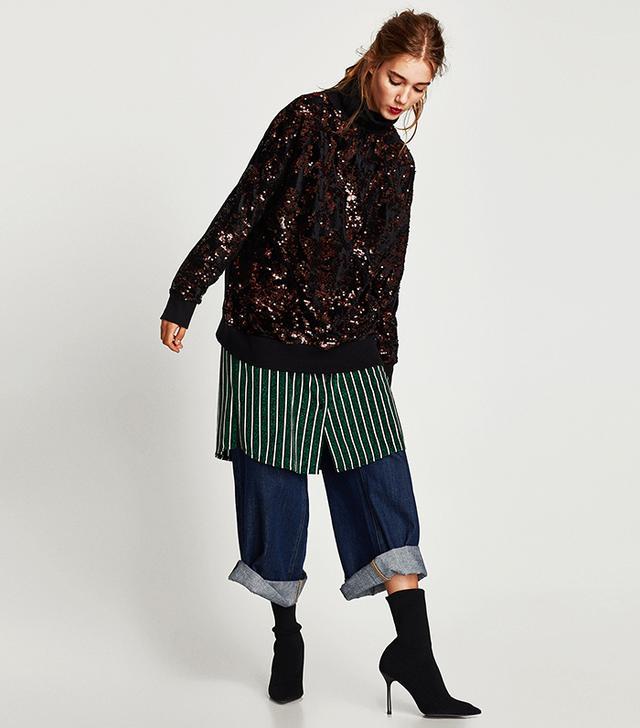 Zara Sequinned Sweatshirt