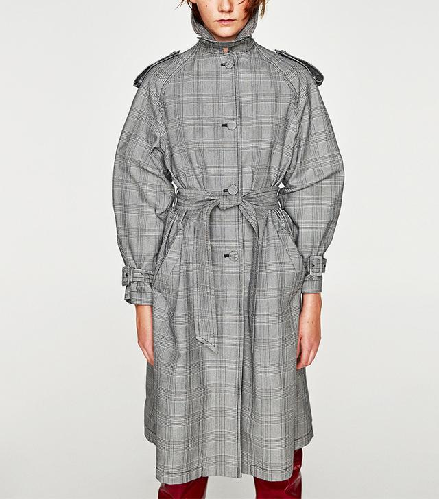 Zara Checked Trench Coat Details