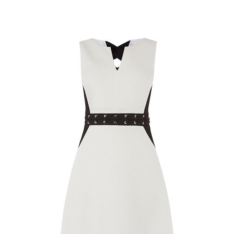 Black and White Eyelet Mini Dress