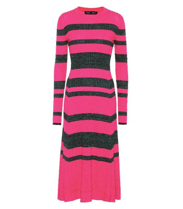Striped wool-blend dress