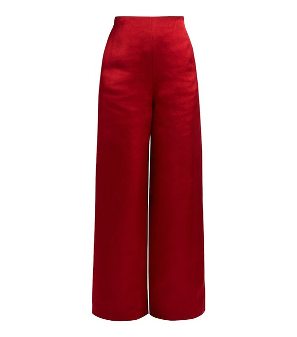 Strom washed duchess-satin trousers