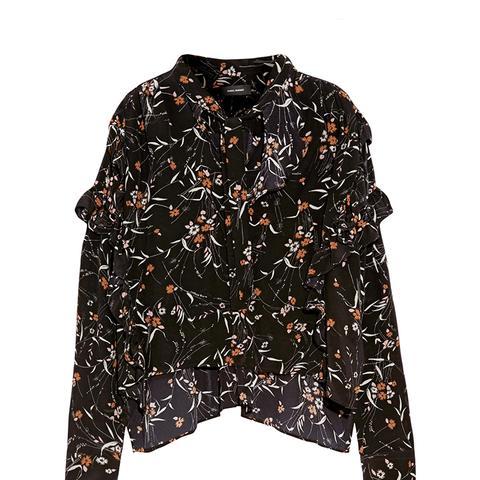 Sibel Ruffled Floral-Print Silk Blouse