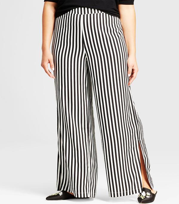 Plus Size Side Slit Wide Leg Pants