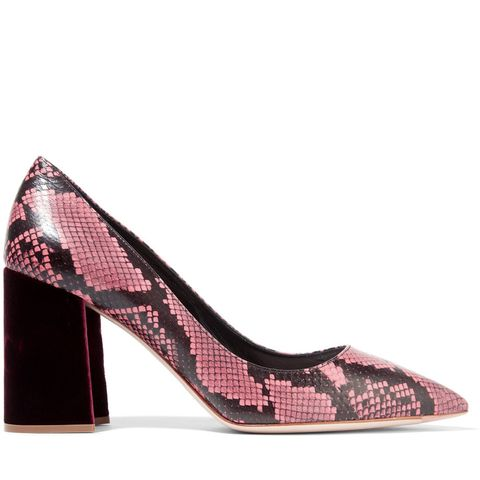 Velvet-Trimmed Snake Pumps