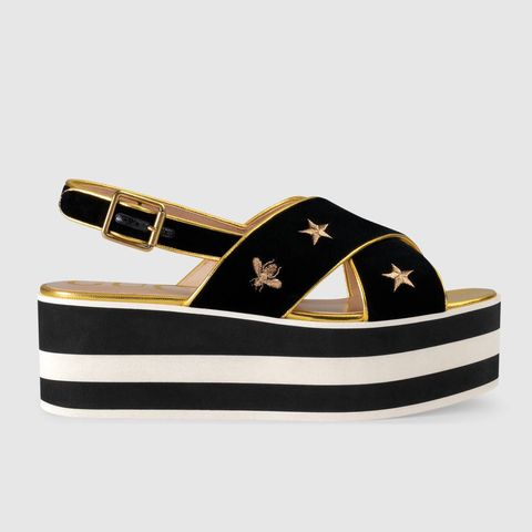 Embroidered Velvet Crossover Platform Sandal