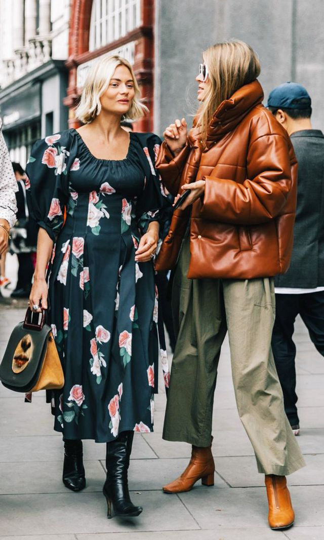 Style Notes: Monica Ainley wore the Nanushka bomber during fashion week with a pair of matching brown boots and khaki green trousers.