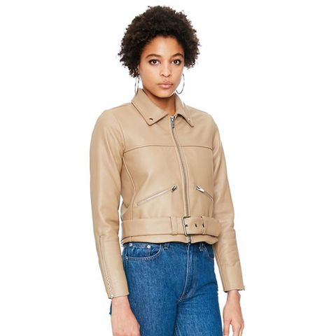 One Leather Jacket in Taupe
