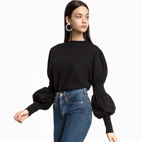 JP Gathered Sleeve Knit Top