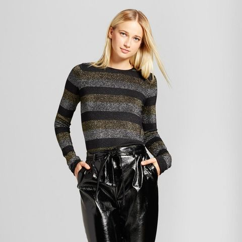 Long-Sleeve Metallic-Stripe Crew Sweater