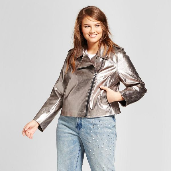 Plus Size Metallic Moto Jacket