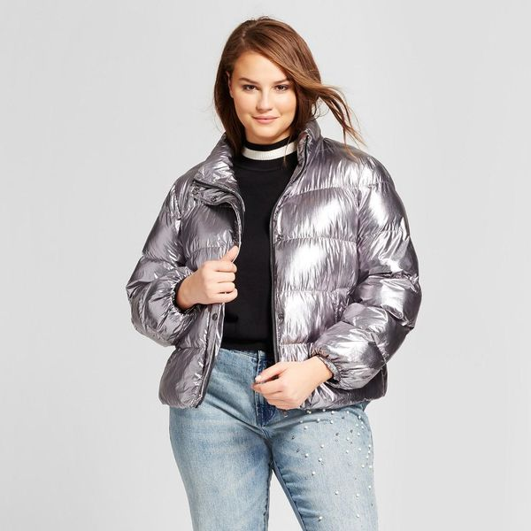Plus Size Boxy Metallic Puffer Jacket