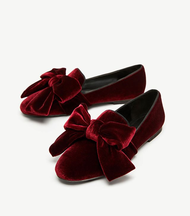 Zara Velvet Loafers With Bow
