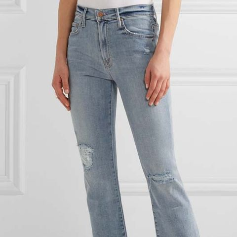 The Insider Crop Distressed High-Rise Flared Jeans