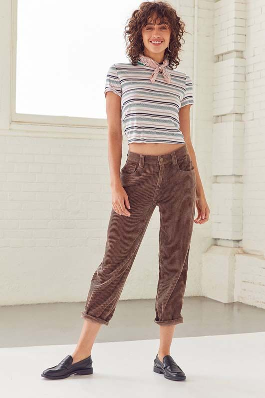 Jillian Low-Rise Straight-Leg Corduroy Pant - Grey 4 at Urban Outfitters