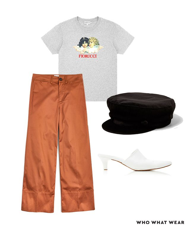 Pictured Above: Fiorucci Angels Classic Tee ($95); Zara Velvet Nautical Cap ($23); Maryam Nassir Zadeh Andrea Leather Mules ($385); Madewell Langford Wide-Leg Crop Pants in Sateen ($88)