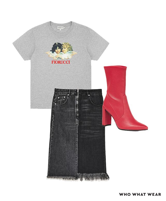 Pictured Above: Fiorucci Angels Classic Tee ($95); Stuart Weitzman Clinger Stretch Booties ($575); Zara Two-Tone Denim Midi Skirt ($40)
