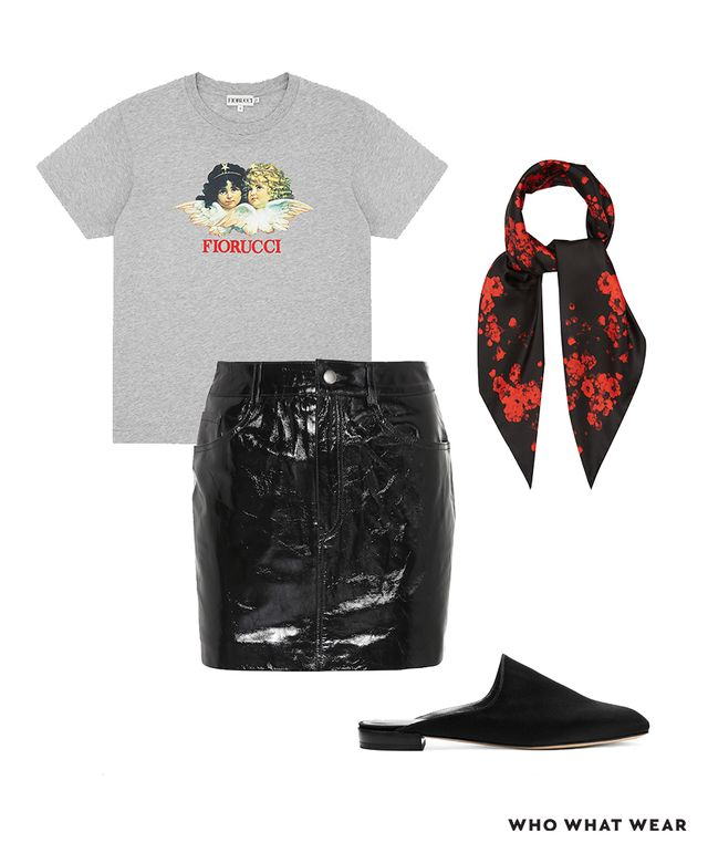 Pictured Above: Fiorucci Angels Classic Tee ($95); Givenchy Floral-Print Silk-Twill Scarf ($450); Stuart Weitzman Mulearky Flats ($398); LPA Leather Miniskirt ($398)