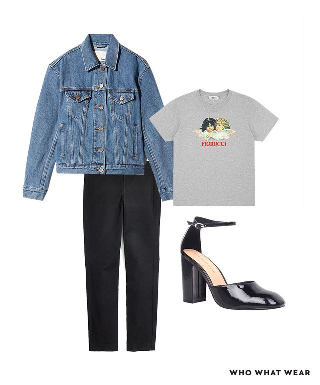 Pictured Above: Aritzia Wilfred Free Bishamber Jacket ($135); Fiorucci Angels Classic Tee ($95); Who What Wear Juliette Patent Block Heel Quarter Strap Sandals Pumps ($38); Madewell Fraser Slim...