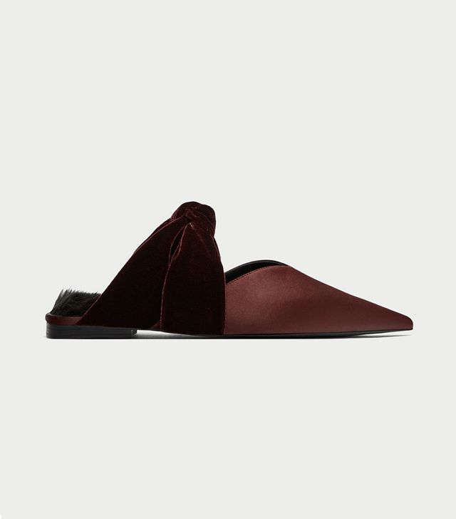 Zara Velvet Backless Shoes With Bows