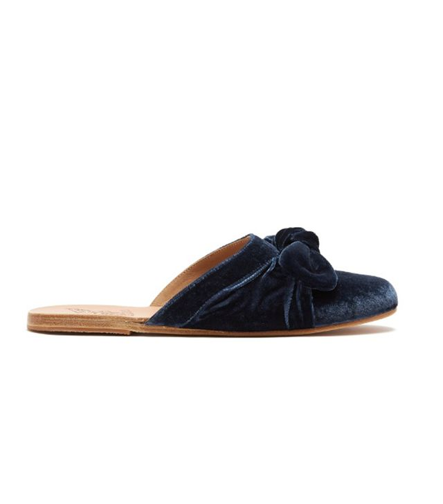Ancient Greek Sandals Pasoumi Bow Velvet Backless Flats