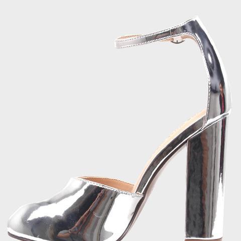Juliette Patent Block Heel Quarter Strap Sandals Pumps