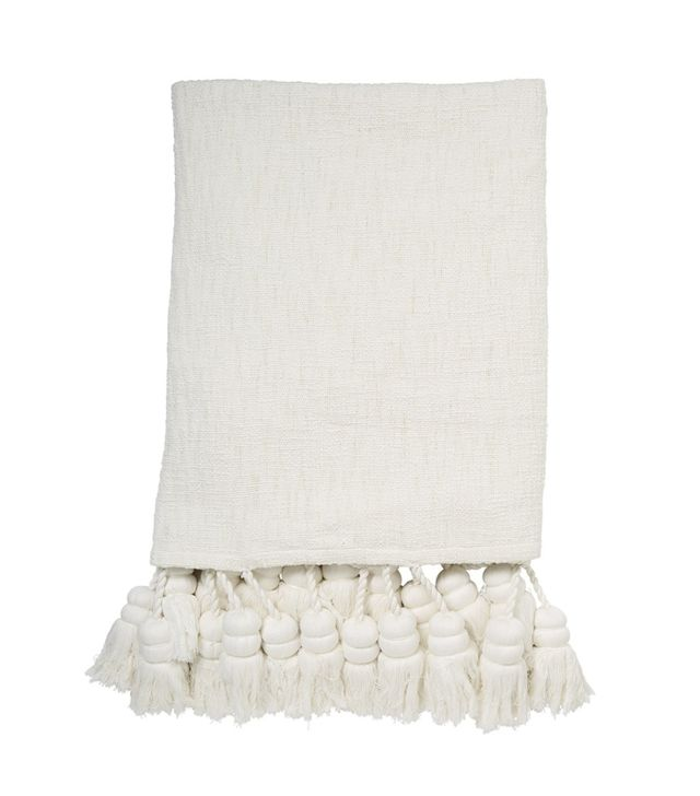 Kip & Co White Tassel Throw
