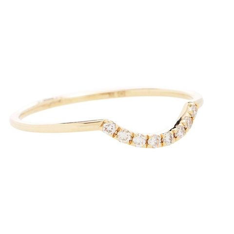 Curved Pavé 14kt Gold and Diamonds Ring